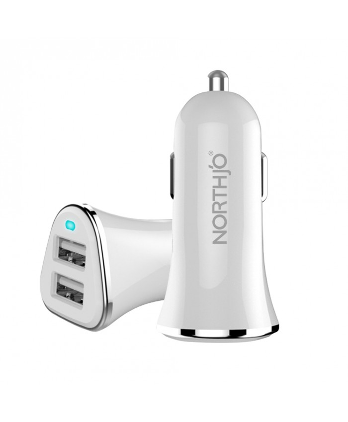 NORTHJO® 2 Ports USB Car Charger 5V/2.4A - A02